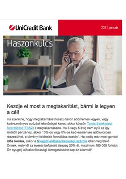 Bankokba és szolgáltatások kínálatok Unicredit Bank katalógusában, Budapest ( 7 nap )